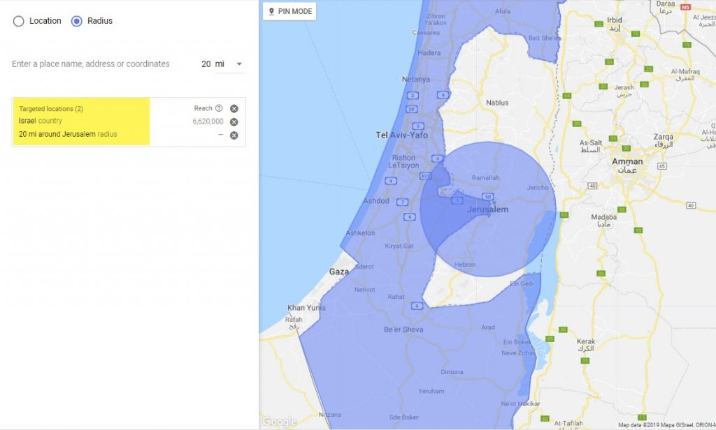 Google Ads location radius targeting shown in purple