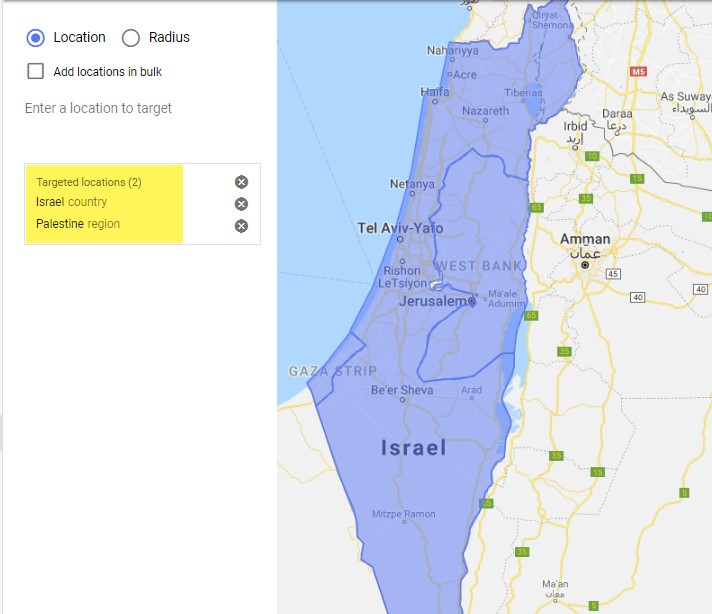 Google Ads location targeting of Israel and Palestine together
