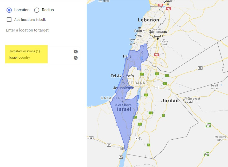 Google Ads location targeting for Israel shown in purple