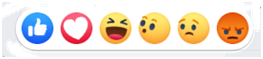 Facebook reactions to an Israeli election post. Like, love, haha, wow, sad and angry.