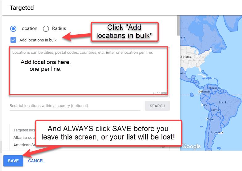 Add Locations screen in Google Ads
