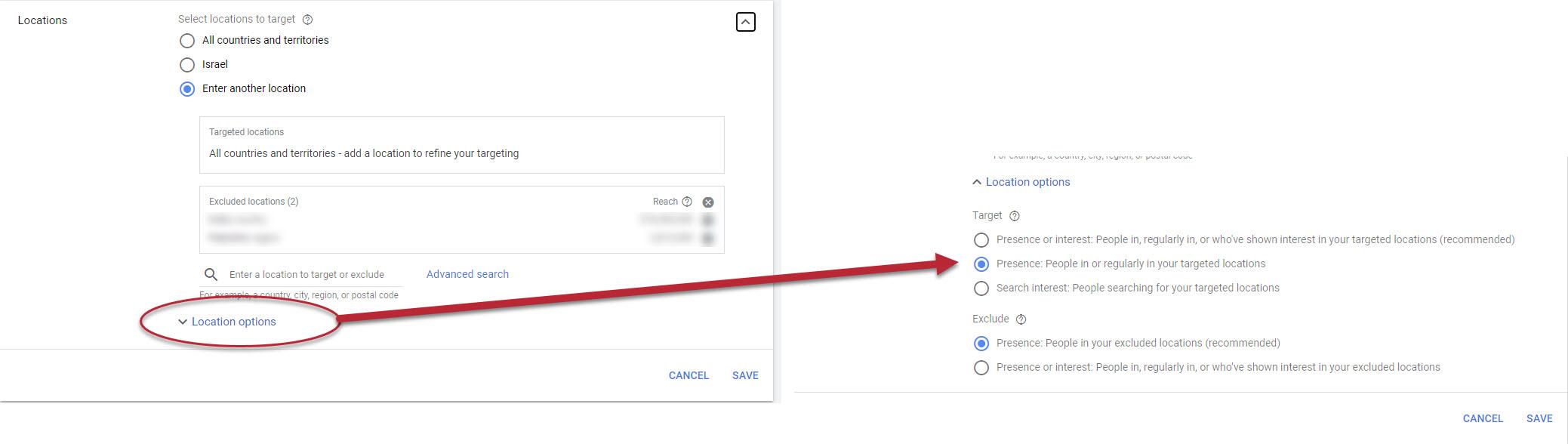 Google Ads Location Settings